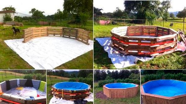 Hacer una piscina con 10 palets en vivienda for Como armar una piscina redonda